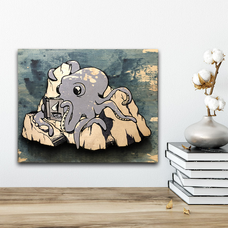 Medium Hubert the Reading Octopus - Wall Art