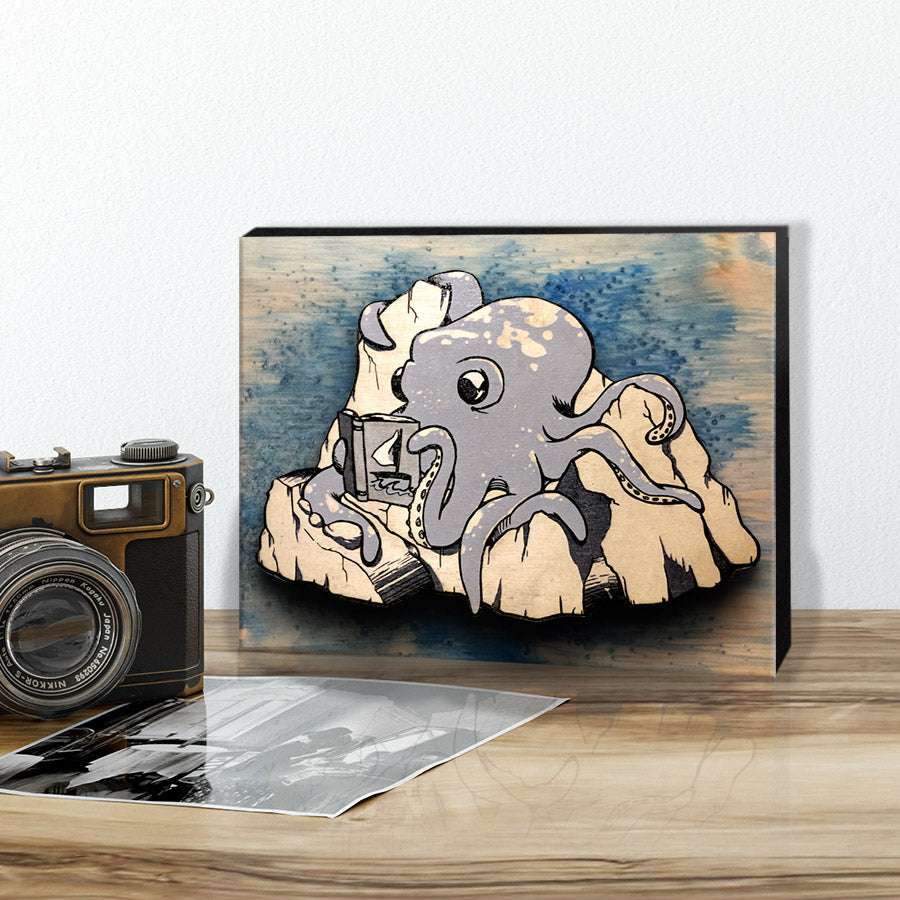 Hubert the Reading Octopus - Wall Art Painting