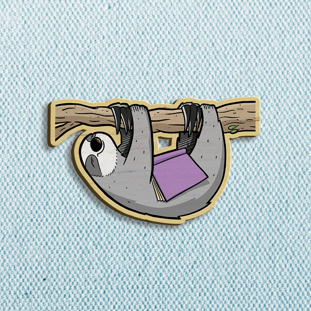 Sleepy Reader Wooden Pin