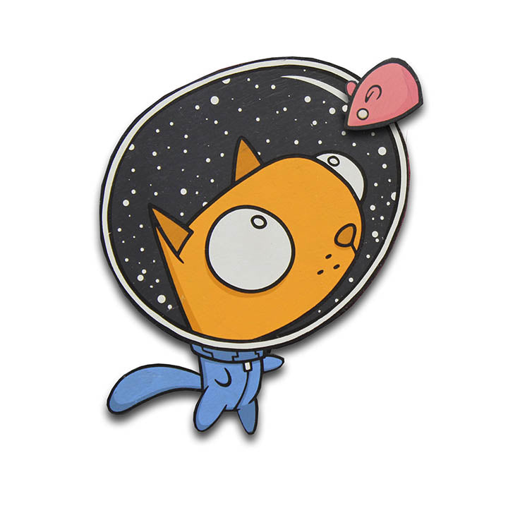 Space Cat Magnet-Magnet-Red Rocket Farm