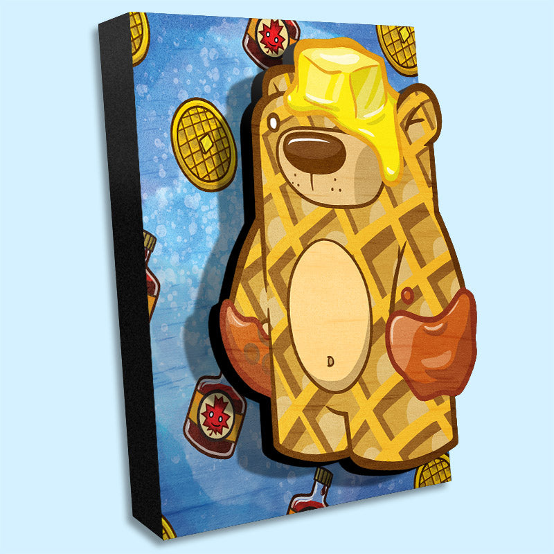 3D wall art painting waffle bear. Waffles and maple syrup pattern on background. Angled view.