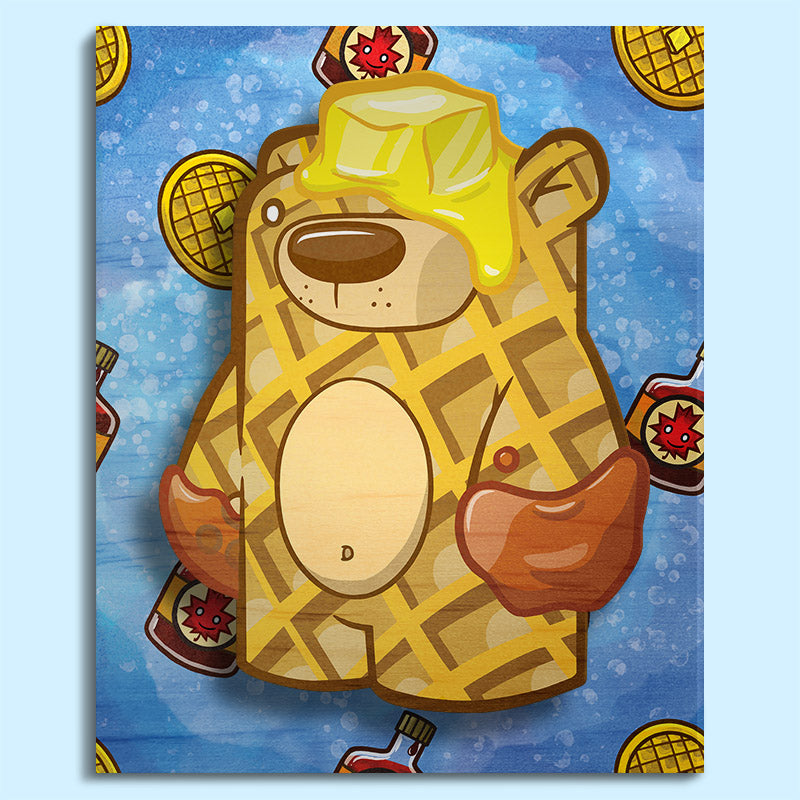 3D wall art painting waffle bear. Waffles and maple syrup pattern on background. Front facing.