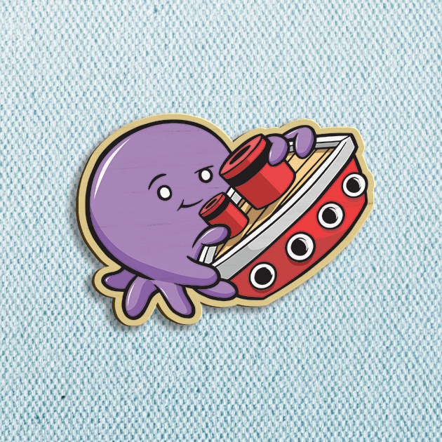 Tiny Kraken - Violet Wooden Pin