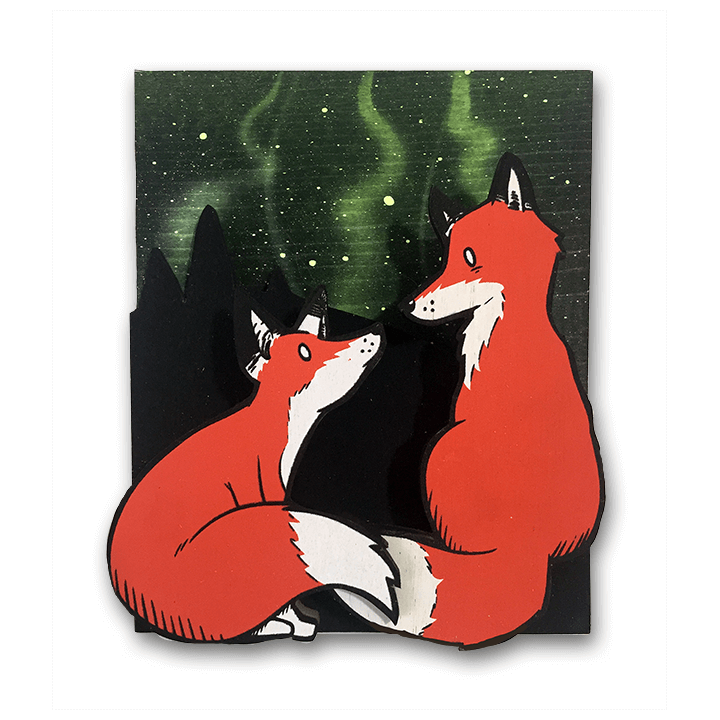 The Two Foxes - Wall Art-Wall Art-Red Rocket Farm