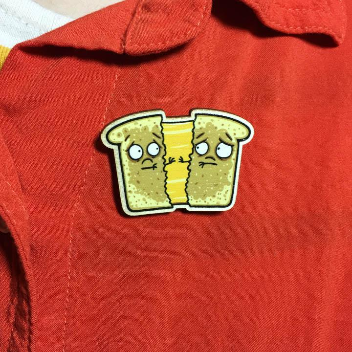 Grilled Cheese Wooden Pin-Wooden Pin-Red Rocket Farm