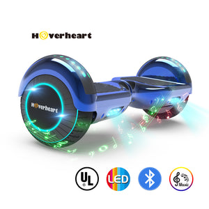 "6.5"" UL 2272 Certified Hoverboard LED Light Flash Wheel -Chrome blue"