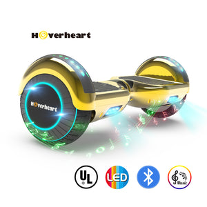 "6.5"" UL 2272 Certified Hoverboard LED Light Flash Wheel -Chrome gold"