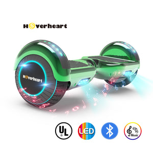 "6.5"" UL 2272 Certified Hoverboard LED Light Flash Wheel -Chrome green"