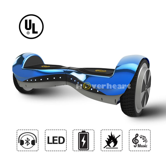 6.5 Inch Hoverboard  With Bluetooth Speaker and Lights- Chrome Blue