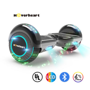 "6.5"" UL 2272 Certified Hoverboard LED Light Flash Wheel -Chrome black"