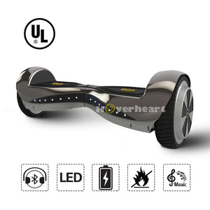 6.5 Inch Hoverboard  With Bluetooth Speaker and Lights -Chrome Black
