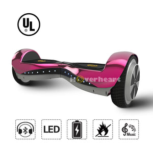 6.5 Inch Hoverboard  With Bluetooth Speaker and Lights -Chrome Pink
