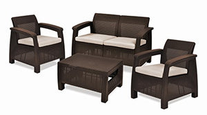 Corfu 4 Piece Set All Weather Outdoor Patio Garden Furniture w/ Cushions, Brown