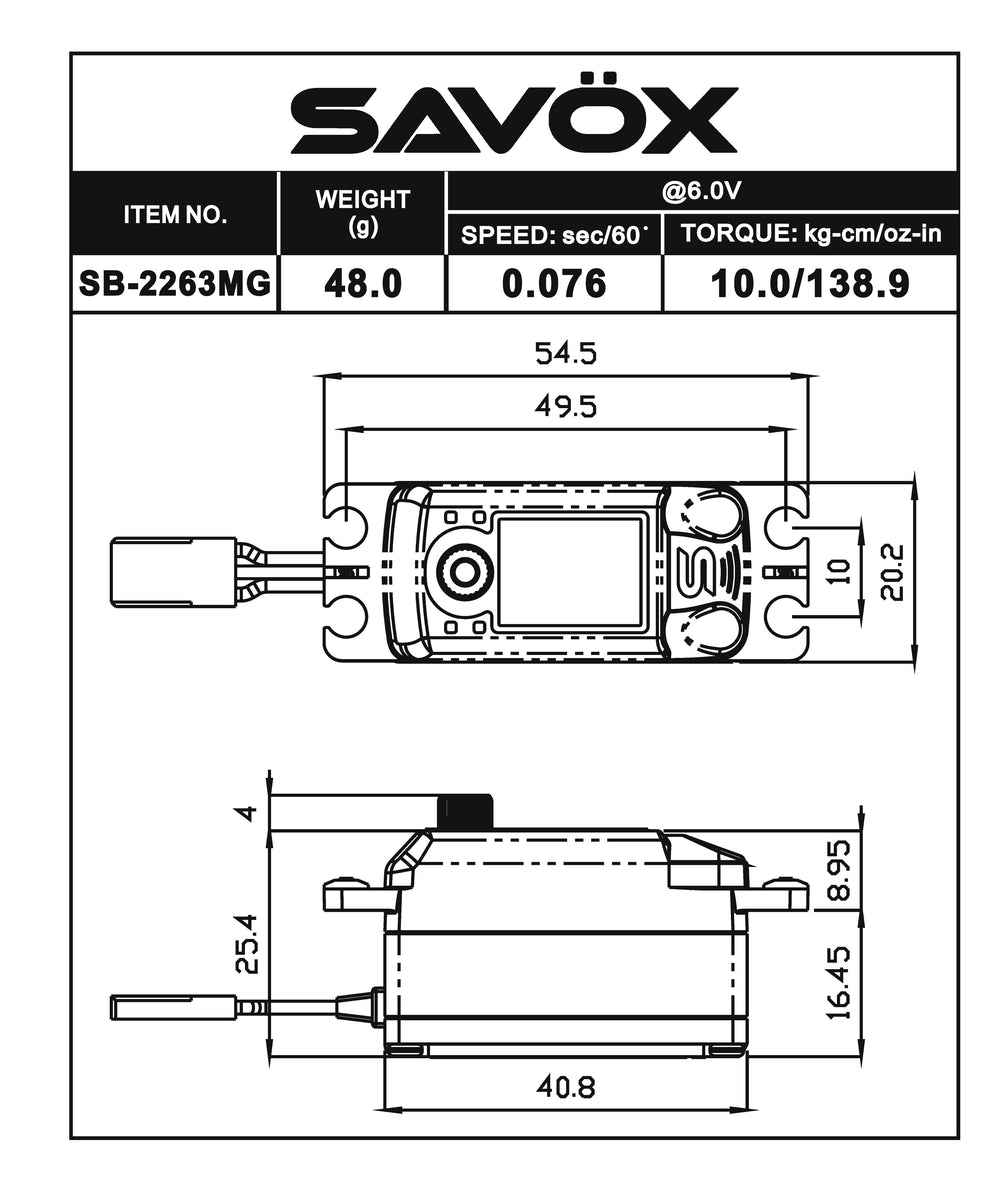 SB2263MG-CE - Ryan Cavalieri Edition, Low Profile Brushless Digital Servo .076/138.9 @ 6V