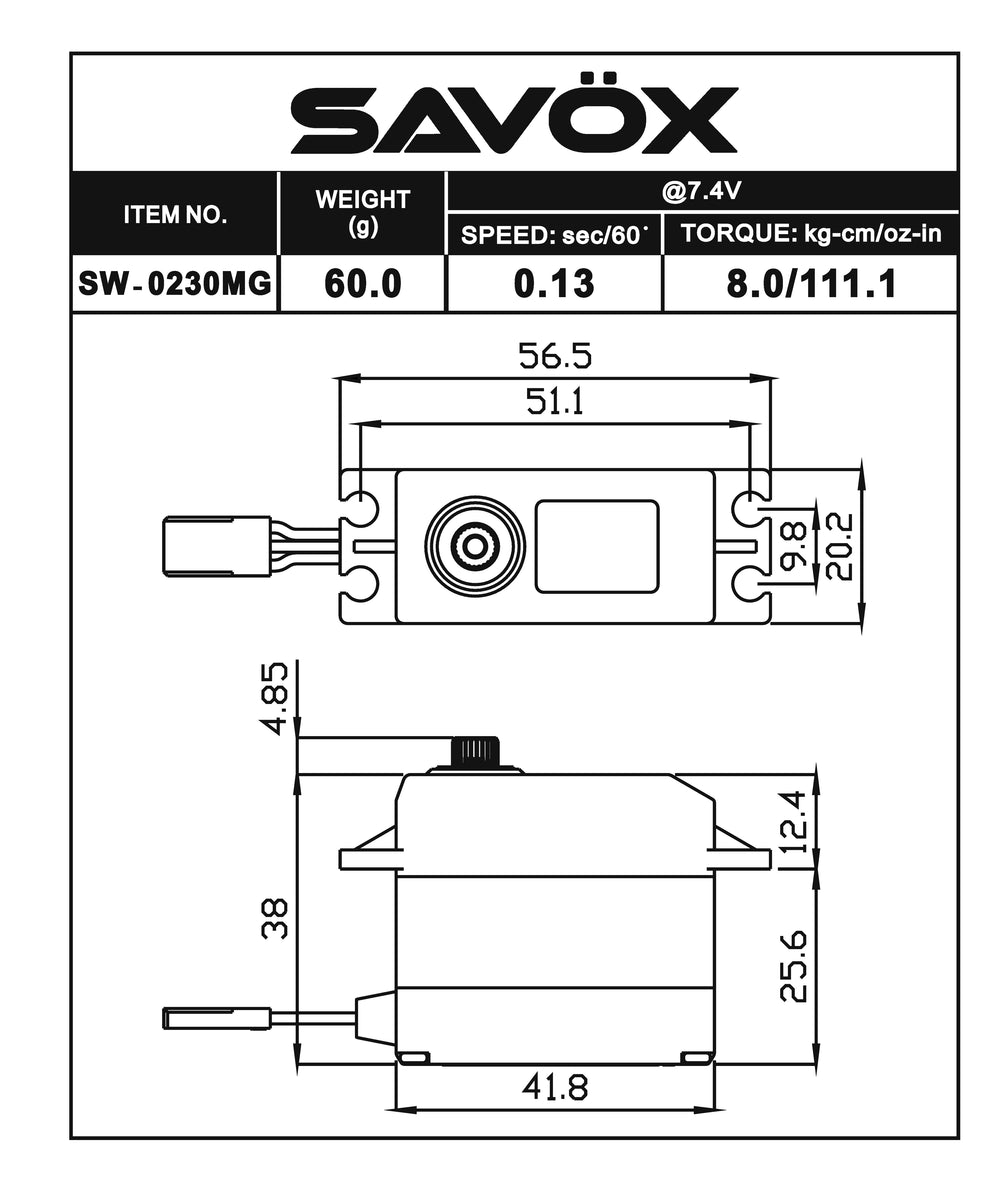SW0230MG - Waterproof Standard Digital Servo .13/111.1 @ 7.4V
