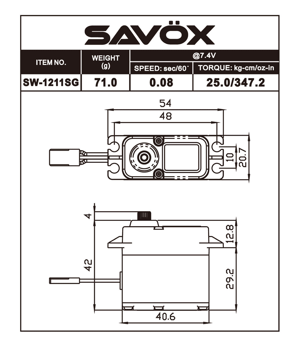 Savox - Waterproof High Voltage Digital Servo 0.08sec / 347.2oz @ 7.4V - Black Edition