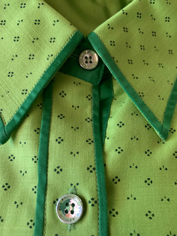Lime Green  Fitted Button Up with Green Piping Adult Small