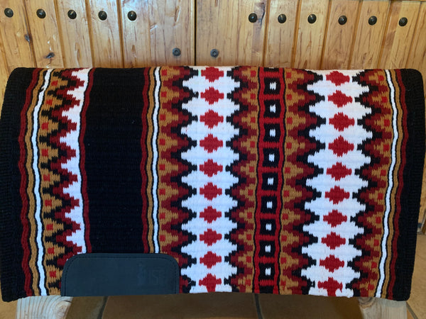 Oversized Show Blanket w/ Black Base, Red Earth, White, Caramel, and Show Red