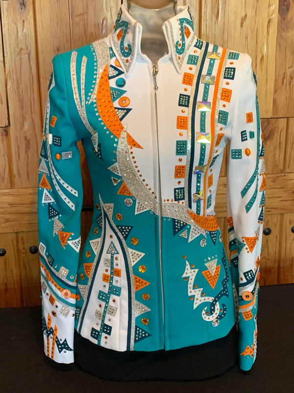 Teal, Orange, White, and Silver XS Jacket