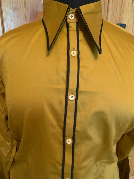 Ready Set Show XXL Gold Button Up with Black Piping