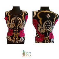 Ready Set Show Ladies Large Show Vest w/ Black Base and Fuchsia, Gold, and Silver Accents