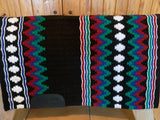 Consignment Oversized Show Blanket Black Base, Red, Green, and White