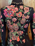 Black Base with Hand Painted Flowers in Shades of Pink Size Small