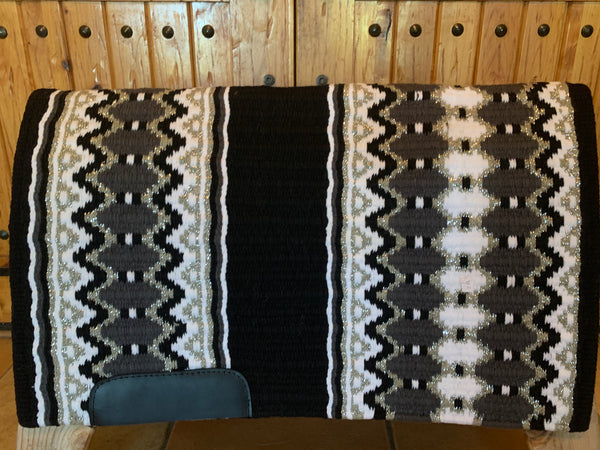 Oversized Show Blanket w/Black Base, Charcoal, Metallic Silver, and White