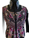 Ready Set Show Ladies  Black Base Vest with Pink, Lavender, and Silver