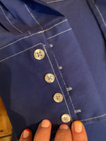 Royal Blue Button Down Sport Shirt with Contrasting Cuff