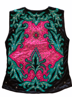 Ready Set Show Ladies M-L Vest w/ Hot Pink and Mint