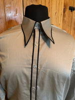 Ready Set Show Grey Button Up with Black Piping