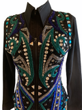 Ready Set Show Ladies Medium Vest w/ Black Base, Jade Green, Royal Blue, and Silver