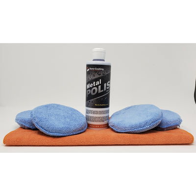 Blue Premium Metal Polish - 16oz w/ polishing pads & Large Microfiber Towel