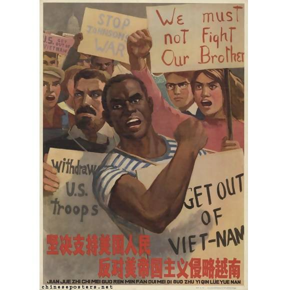1966 'Resolutely support the American people in their resistance against American imperialist aggression in Vietnam' reprint poster