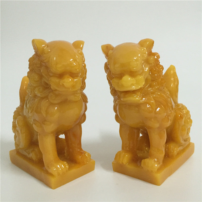 2 Pcs Chinese Lions Statues Man-made Jade Stone Animals Garden Sculpture Lion Figurines Statue For Home Decoration Feng Shui