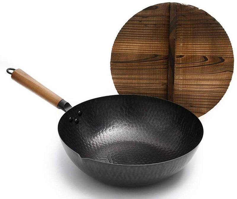 Traditional Hand Hammered Iron Wok