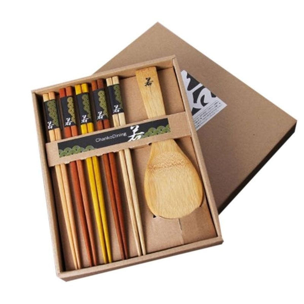 1Set Fashion Wedding Gifts Dinnerware Set Wooden Chinese Shovel Chopsticks Tableware with Gift Box