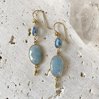 Aquamarine And Kyanite Drop Earrings Earrings Robindira Unsworth