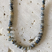 Aquamarine & Silverite Layering Necklace Necklace Robindira Unsworth