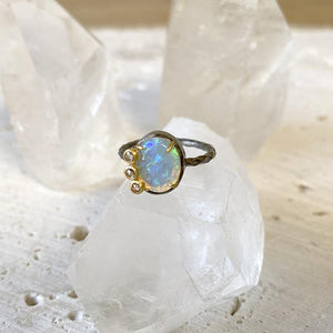 Australian Opal Overlaid Diamond Ring Ring Robindira Unsworth