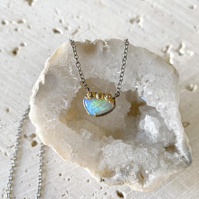 Australian Opal Petite Diamond Necklace Necklace Robindira Unsworth