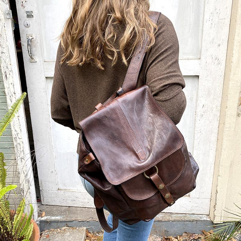 Campomaggi Cognac Leather Backpack BAG Campomaggi