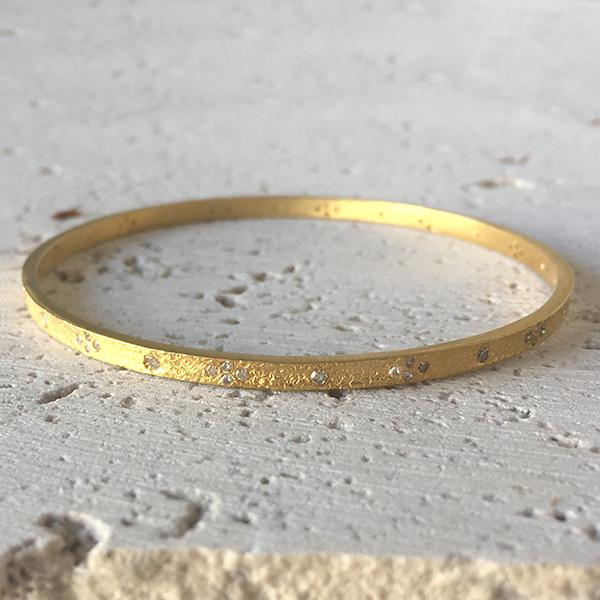 Champagne Diamond Gold Bangle Bangle Robindira Unsworth
