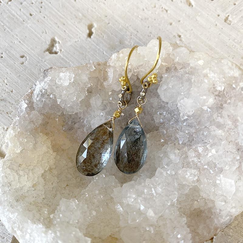 Copper Aquamarine Teardrop Earrings Earrings Robindira Unsworth
