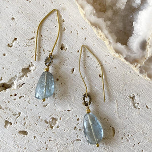 Copper Aquamarine White Topaz Drop Earrings Earrings Robindira Unsworth