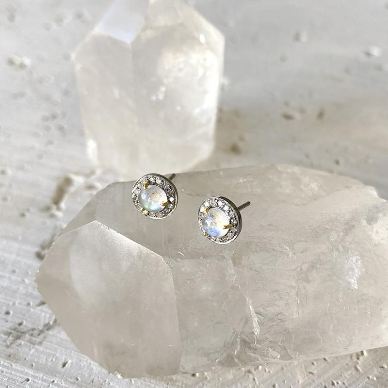 Delicate Moonstone Stud Earrings Earrings Robindira Unsworth