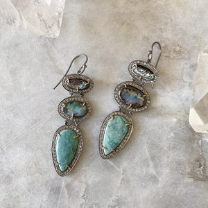 Gemstone Trio Earrings With Pave' Earrings Robindira Unsworth