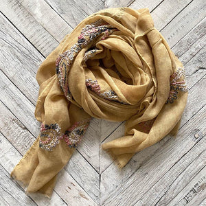 Gold Embroidered Scarf Clothing SCARF