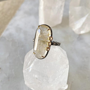 Gold Rutilated Quartz Diamond Cluster Ring Ring Robindira Unsworth
